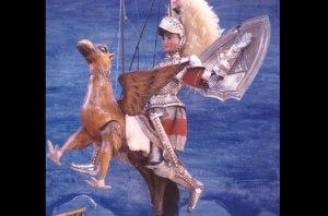 Astolfo sull'Ippogrifo. Questa immagine viene da: http://www.figlidartecuticchio.com/